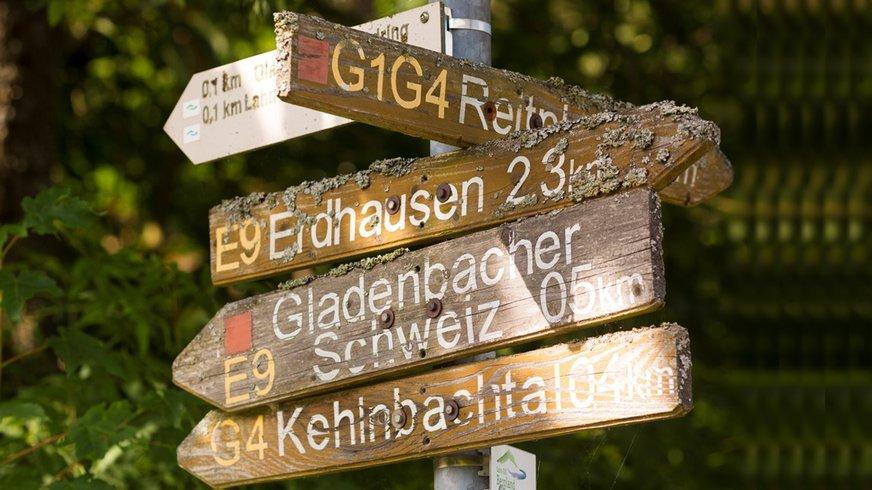Bildungszentrum Gladenbach Anfahrt Natur Wegweiser Hinweisschild